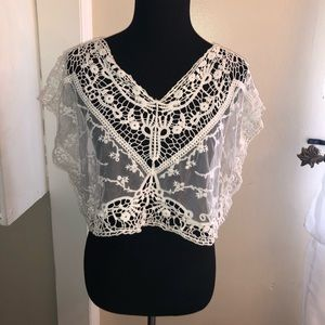 See through white floral cover up